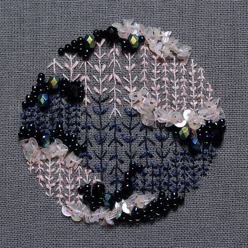"Blossom and blue 2"" miniature embroidery art"