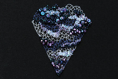 Purple geode mounted embroidery art