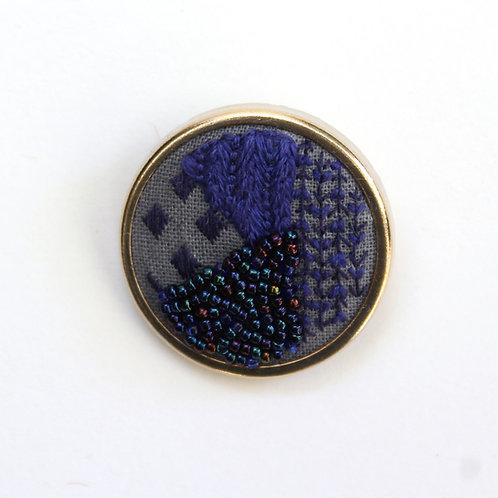 Purple geometric embroidered brooch