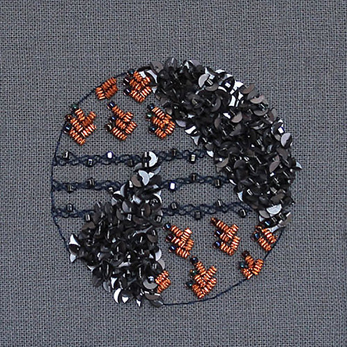 """Art deco inspired 2"""" miniature embroidery art"""