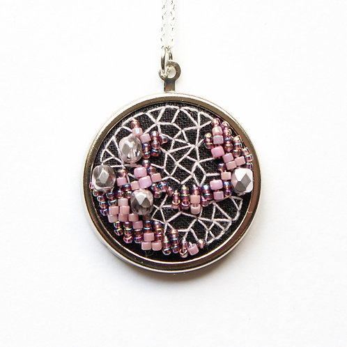 Blossom geode embroidered necklace
