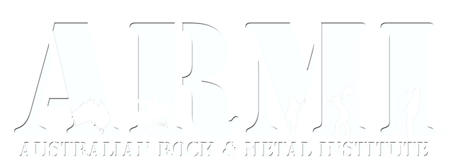 ARMI Australian Rock & Metal Institute logo. Australia's first Music school specialising in Rock and Metal in Adelaide, South Australia.