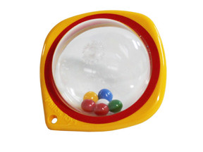 Cot rattle beads yellow-red