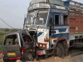 A car-truck collision killed 10 members of family in Gujarat.