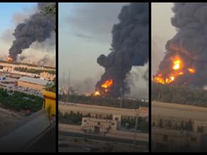 Huge fire breaks out at oil refinery in Tehran.