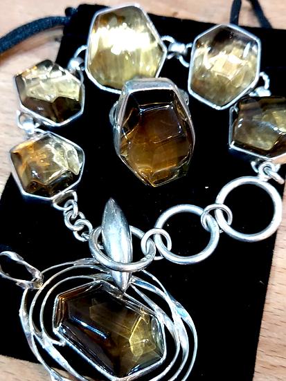 Elestial Three Piece Silver Jewellery set