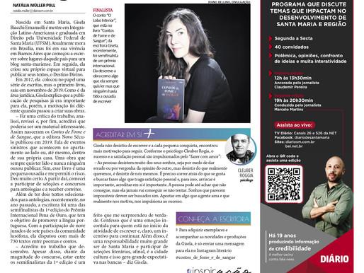 SAIU NA MÍDIA! — Gisela Biacchi Emanuelli, semifinalista do 1° Prémio Internacional Pena de Ouro!