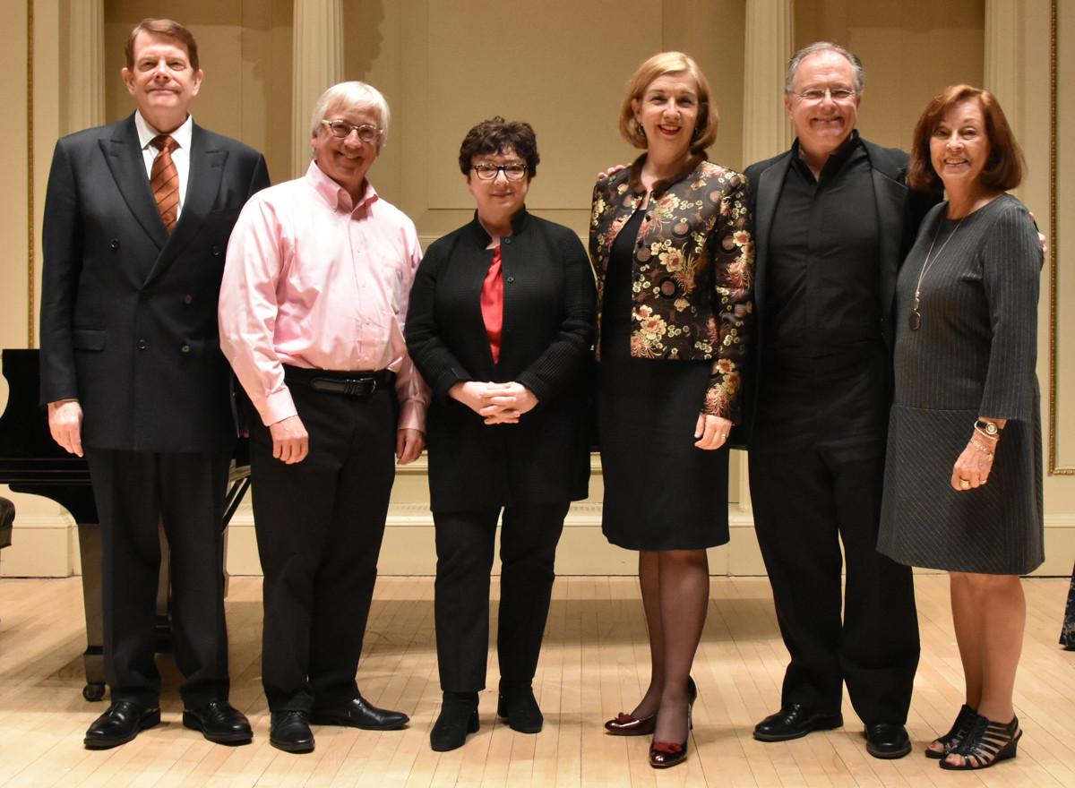 The Judges (l-r) Dennis Keene, Mark Shapiro Pamela Walsh, Leslie Fagan, Kent Tritle With Janet Plucknett, Competition Chair