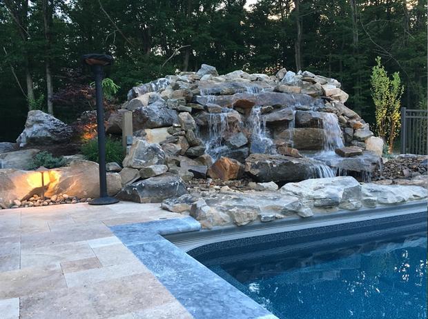 waterfall by pool