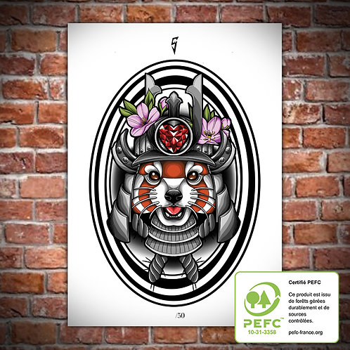 Artwork A4 Samurai Panda Roux