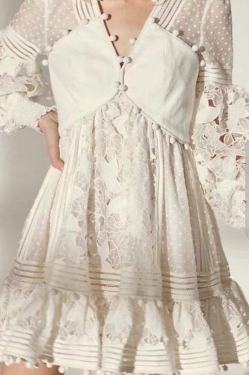 Off white/White Crochet detailed dress.