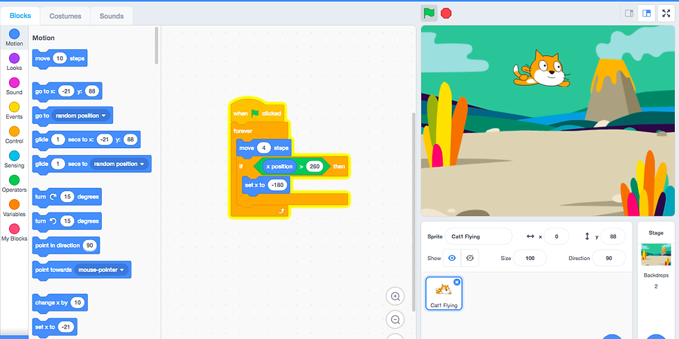 WAC Uster. For children aged 6 to 12: coding by colours using Scratch 3.0