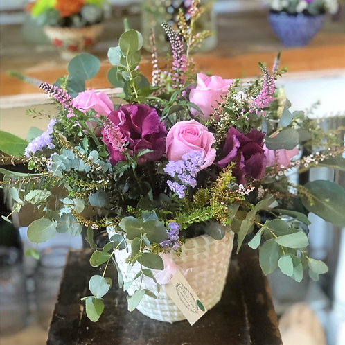 Cottage Style Seasonal flowers in a Basket