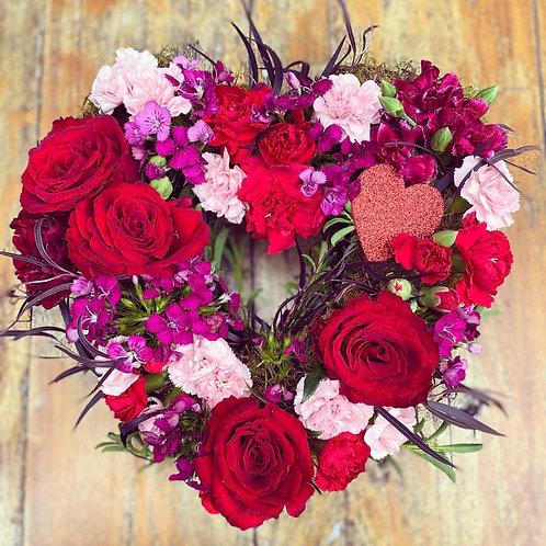 Love Heart of fresh flowers