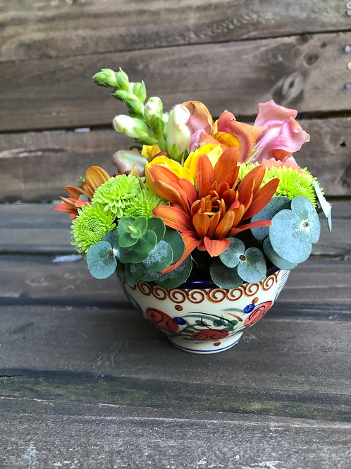 Fresh flowers in the bowl example