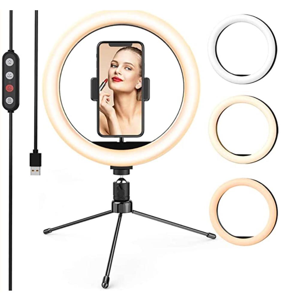 LETSCOM Dimmable Desk Selfie Ringlight for Makeup 10-inch LED ring light