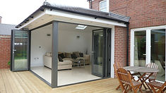 modern bifold conservatory in grey