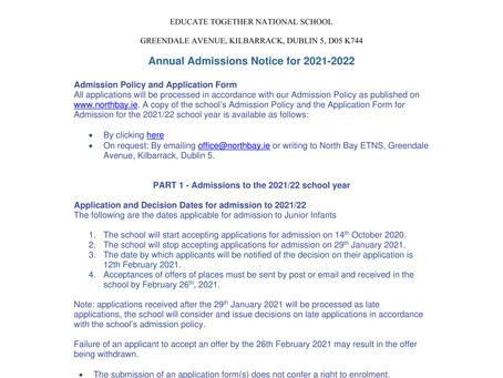 Admission Statement and Application Form 2021/22