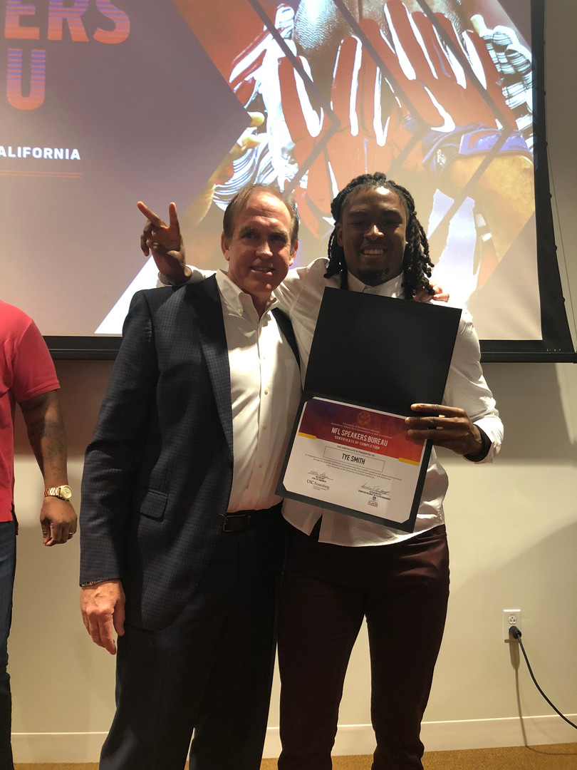 Tye Smith Attends NFL Speakers Bureau Bootcamp at USC in March 2018'