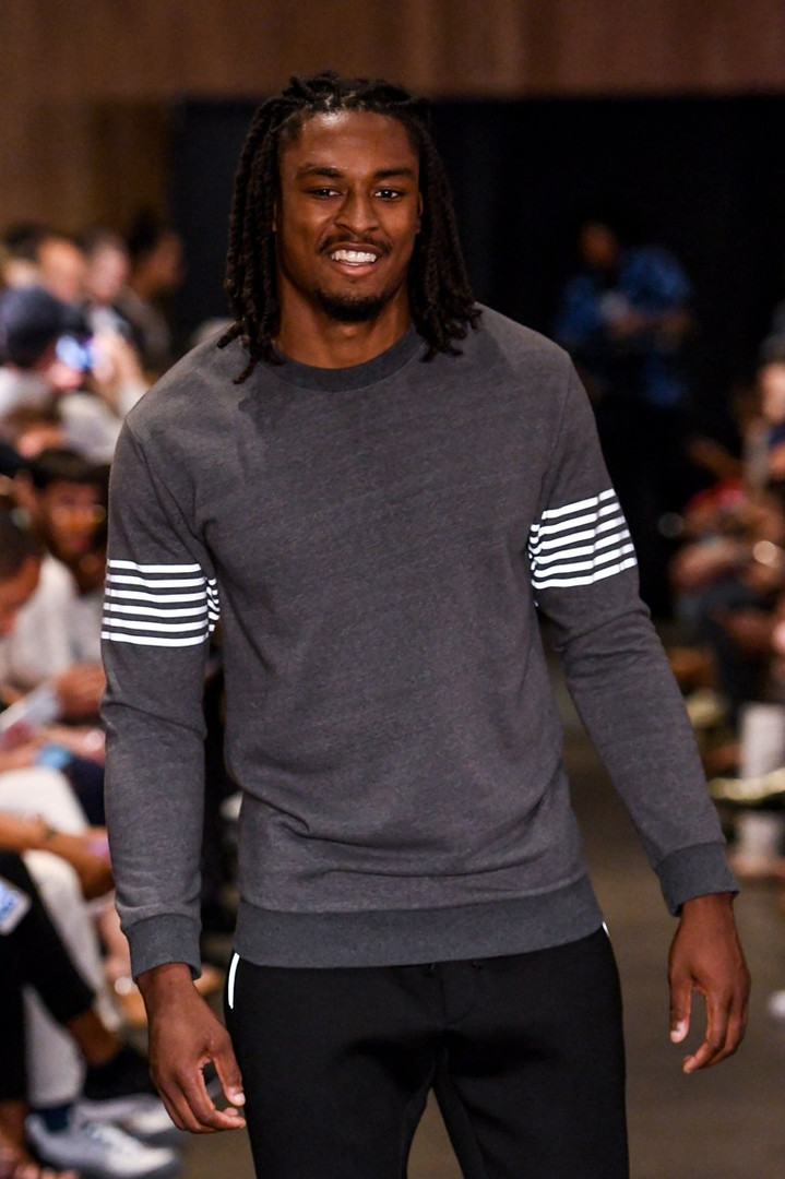 Tye walks the Runway for Grungy Gentleman at New York's Mens Fashion Week in July,2018