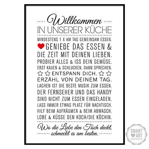 """Kunstdruck """"Küchen Hausordnung"""""""