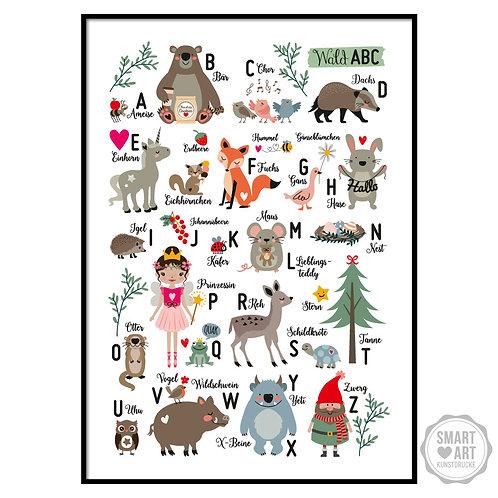 "Kunstdruck ""Wald Alphabet"""