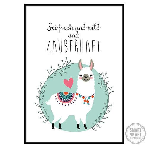"""Kunstdruck """"Sei wild Lama"""""""