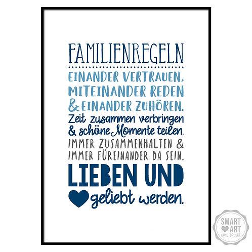"""Kunstdruck """"Familienregeln"""""""
