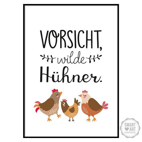"""Kunstdruck """"Wilde Hühner"""""""