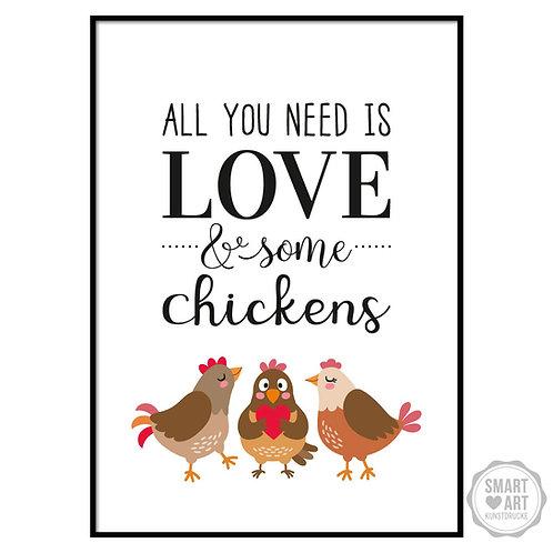 """Kunstdruck """"Love and Chicken"""""""