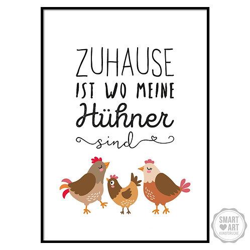 """Kunstdruck """"Meine Hühner"""""""