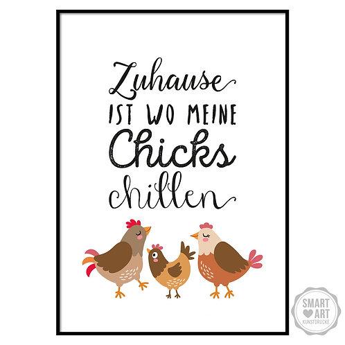 "Kunstdruck ""Chillende Hühner"""