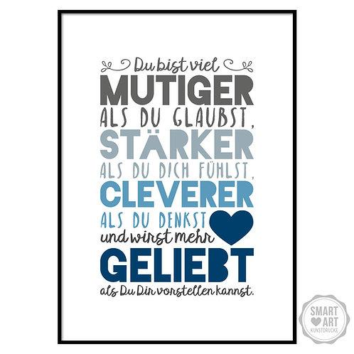 """Kunstdruck """"Du wirst geliebt, Vers. blau"""""""