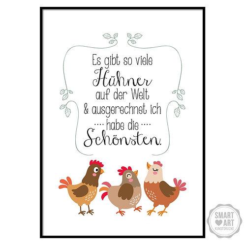 """Kunstdruck """"Schöne Hühner"""""""