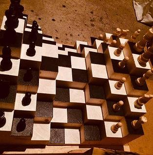 Plateau d'échecs 3D en bois