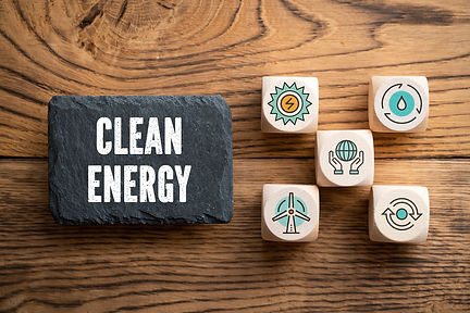 """slate plate with message """"clean energy"""""""