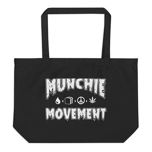 Munchie Movement (White Logo) - Large Organic Tote Bag
