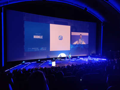 Kiuas Accelerator Demo Day in Helsinki, Finland Aug 2019. On the picture CEO and Co-Founder of Hookle Inc, Tero Seppala