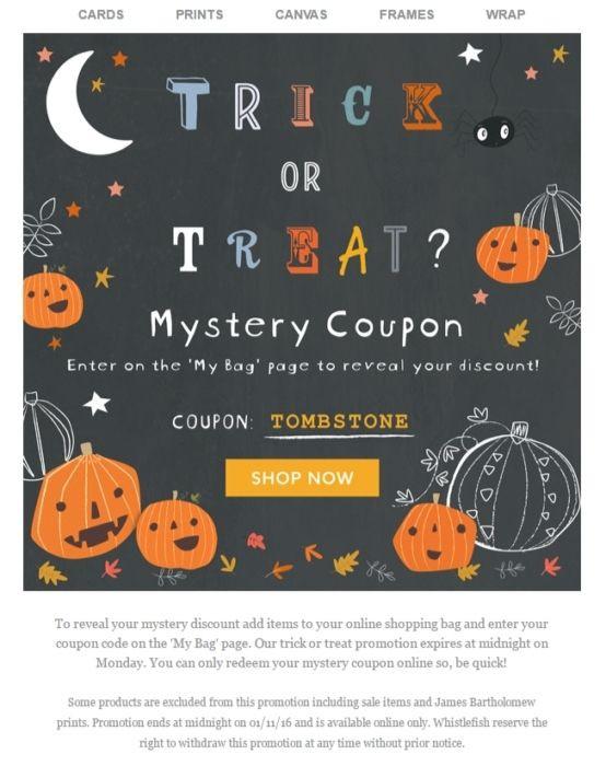 Halloween Promotional Code example for Halloween 2021
