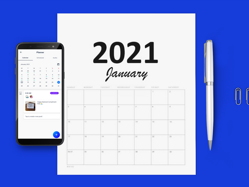 Social media content calendar 2021 for small businesses