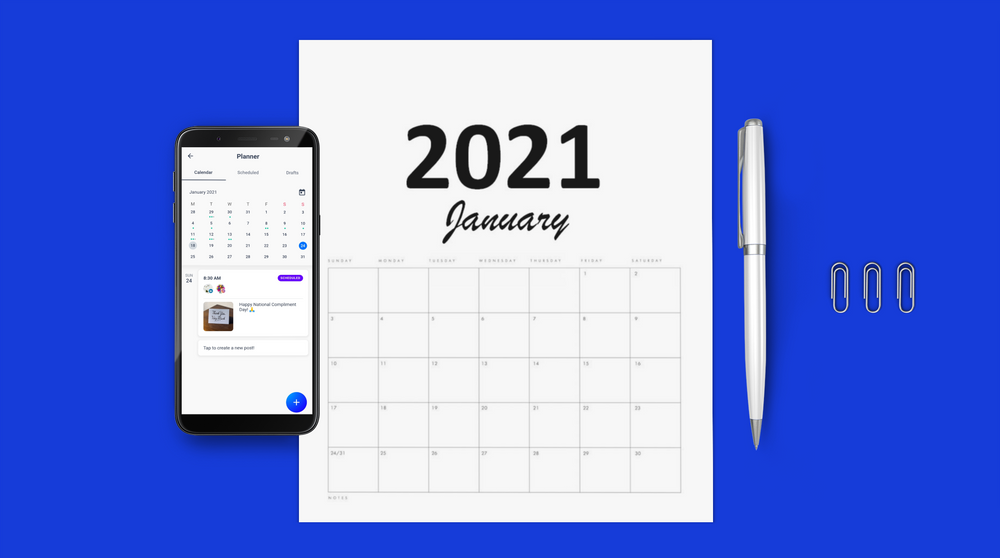 Social media content calendar 2021 for small businesses - with Hookle