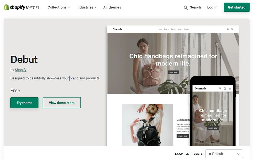 Shopify online store theme with blog and social sharing