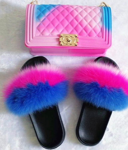 Pink and Blue faux fur slides with matching purse