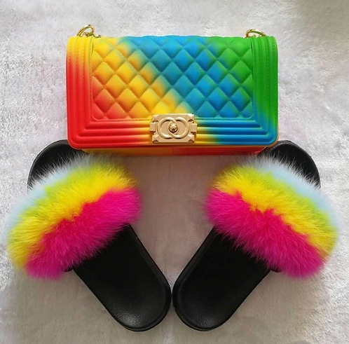 Rainbow Faux Fur slides and Purse Combo