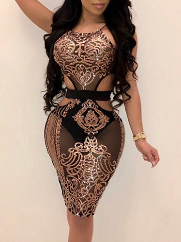 Lovely Sexy Spaghetti Strap Patchwork Hollow-out Rose Gold Knee Length Dress