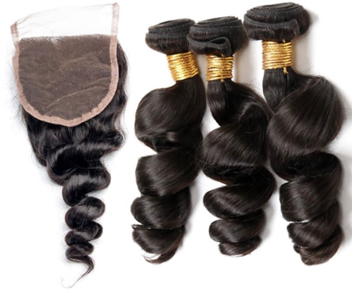 Queen Loose Wave Bundles + Lace 4*4 Free Part Closure