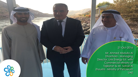Mr. Ahmed Abdulla Al Dhanhani - Managing Director, Link Energy Est. with  Commercial Ministry of Tajikistan & Mr. Sohail Al Zhourini - Ministry of Petroleum UAE