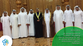 Mr. Ahmed Abdulla Al Dhanhani - Managing Director, Link Energy Est. with Mr. Ahmed Almatroshi - UAE Ambassador in Tajikistan Parliament