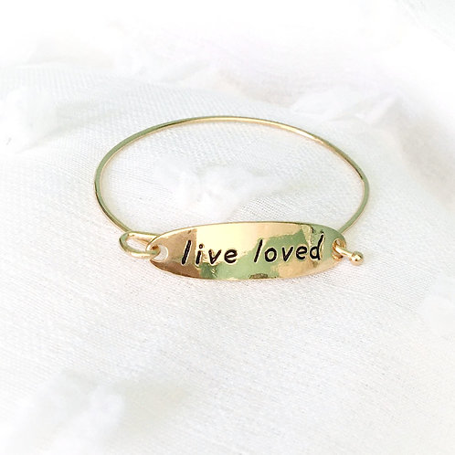 """Live Loved"" Gold Bangle"
