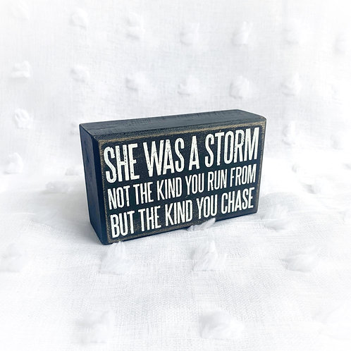 """She was a Storm"" Box Sign"